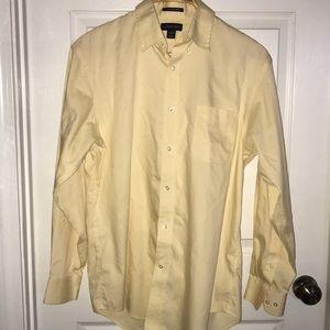 Lands End Pale Yellow Button Down Dress Shirt